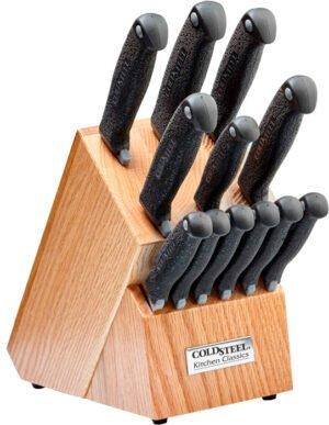 Набор кухонных ножей Cold Steel Kitchen Set, 12 ножей: 6 стейковых с серрейтором, 6 ножей различной формы, размера и режущей кромки