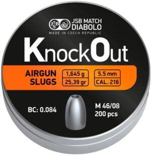 Пули пневматические JSB Knock Out Slugs .217. Кал. 5.5 мм. Вес – 1.645 г. 200 шт/уп
