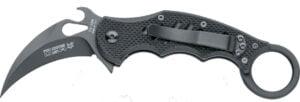 Нож Fox FKMD Mini Karambit, сталь – N690Co, рукоятка – G-10, обычная режущая кромка, двусторонняя клипса, длина клинка – 65 мм, длина общая – 175 мм., флиппер, скоба Эмерсона