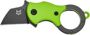 Нож Fox Mini-TA ц: зеленый, сталь – 1.4116 Bestar, рукоятка – FRN, обычная режущая кромка, клипса, длина клинка – 25 мм, длина общая – 80 мм
