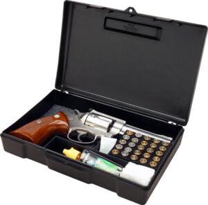 Кейс MTM Handgun Storage Box 804 для пистолета/револьвера с отсеком под патроны (24,9×16,0x5,1 см)