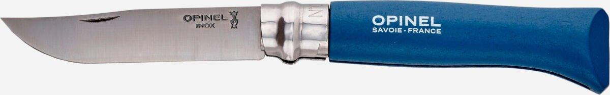 Нож Opinel №8 Inox темно-синий (блистер), сталь – Sandvik 12C27, рукоятка – бук, обычная режущая кромка, длина клинка – 85 мм, длина общая – 190 мм