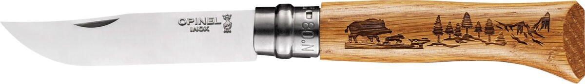 """Нож Opinel №8 Animalia """"Кабан"""", сталь – Sandvik 12C27, рукоятка – дуб, обычная режущая кромка, длина клинка – 85 мм, длина общая – 190 мм."""