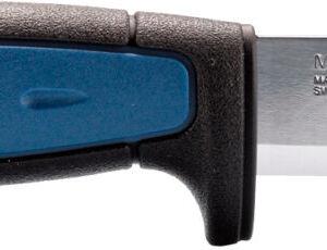 Нож Morakniv Pro S, сталь – Sandvik 12C27, рукоятка – пластик+резина, обычная режущая кромка, пластиковые ножны, длина клинка – 91 мм, длина общая – 206 мм.