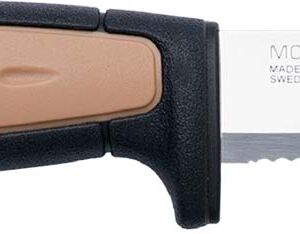 Нож Morakniv Rope, сталь – Sandvik 12C27, рукоятка – пластик+резина, серрейтор, пластиковые ножны, длина клинка – 91 мм, длина общая – 206 мм.