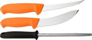 Набор Morakniv Hunting Set 3000 Orange, нож для обвалки мяса (длина клинка – 146 мм), нож для снятия шкуры (длина клинка – 158 мм), точило, чехол.