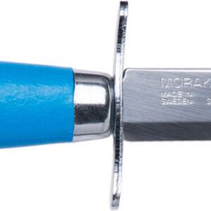 Нож Morakniv Scout 39 Safe. Цвет – синий, сталь – Sandvik 12C27, рукоятка – береза, обычная режущая кромка, кожаные ножны, длина клинка – 85 мм, длина общая – 178 мм.
