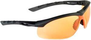 Очки баллистические Swiss Eye Lancer. Цвет – черный, оранжевые линзы, чехол из микрофибрового материала