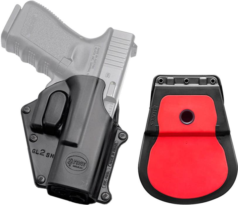 Кобура Fobus для Glock 17/19 с поясным фиксатором/кнопкой фиксации скобы спускового крючка