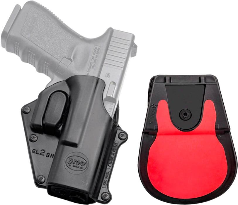 Кобура Fobus для Glock 17/19 поворотная с поясным фиксатором/кнопкой фиксации скобы спускового крючка