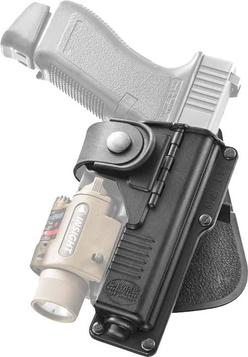 Кобура Fobus для Glock-19/23 с подствольным фонарем, с поясным фиксатором, поворотная.