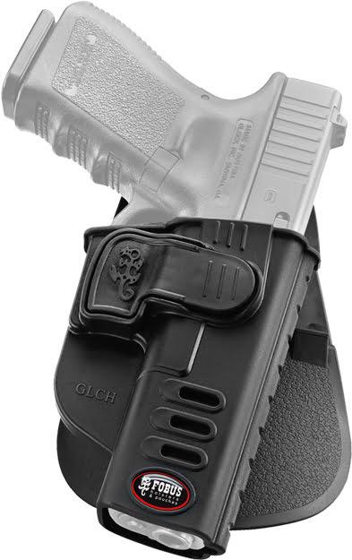 Кобура Fobus для Glock-17/19 с креплением на ремень, поворотная, замок на скобе, под левую руку.