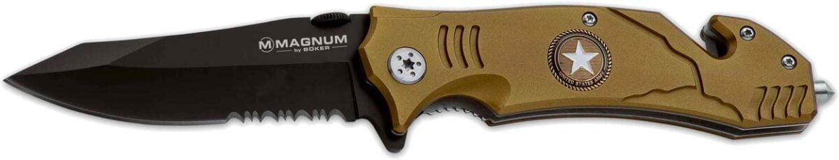 Нож Boker Magnum Army Rescue, сталь – 440С, алюминиевая рукоятка, полусеррейтор, клипса. стеклобой, стропорез, длина клинка – 86 мм, длина общая – 208 мм.