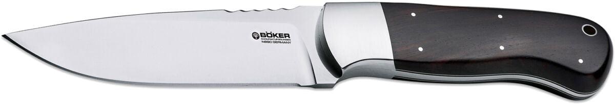 Нож Boker Drikas, сталь – N690Bo, рукоятка – Гренадил, обычная режущая кромка, ножны – кожа, длина клинка – 119 мм, длина общая – 231 мм.
