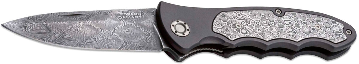 Нож Boker Leopard-Damast III 42 Collection, сталь – дамасская, рукоятка – алюминий, длина общая – 225 мм, длина клинка – 97 мм.