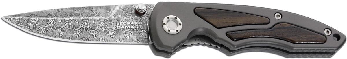 Нож Boker Leopard-Damast I, дамасская сталь, рукоятка – алюминий, обычная режущая кромка, длина клинка – 90 мм, длина общая – 210 мм.