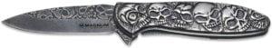 Нож Boker Magnum Dia De Los Muertos, сталь – 440A, рукоять – нержавеющая сталь, обычная режущая кромка, клипса, длина клинка – 85 мм, длина общая – 200 мм