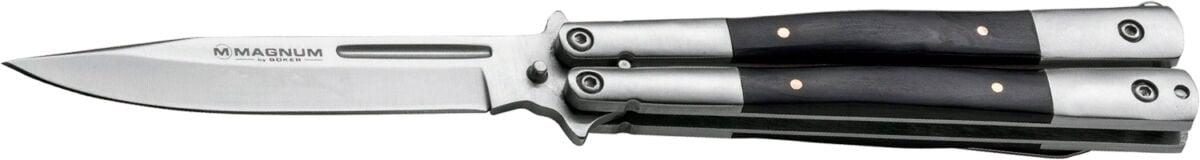Нож Boker Magnum Balisong Wood, сталь – 440A, рукоять – нержавеющая сталь/дерево, клипса, длина клинка – 103 мм, длина общая – 210 мм.