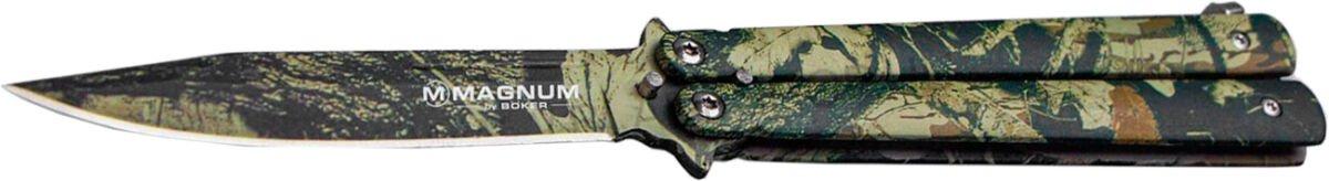 Нож Boker Magnum Balisong Camo, сталь – 440A, рукоятка – алюминий, обычная режущая кромка, длина клинка – 102 мм, длина общая – 227 мм.