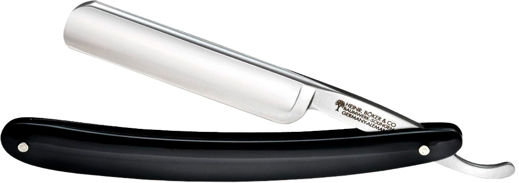 Набор для бритья Boker Classic Black Round Head, в комплекте: бритва Boker Classic Black (сталь – углеродистая, рукоятка – пластик, обычная режущая кромка), кисточка-помазок, ремень для правки/заточки, масло, мыло.