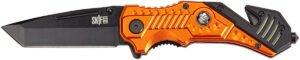 Нож SKIF Plus Fireman, Марка стали – 3Cr13MoV, Материал рукоятки – Алюминий, Длина общая – 204 мм, Длина клинка – 82 мм. Вес – 164 г