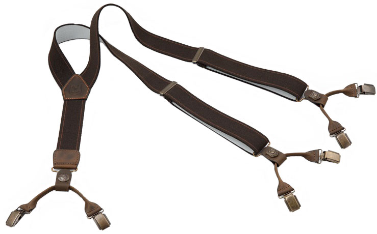 Подтяжки Riserva R3050 кожа/эластик ц:коричневый
