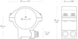 "Кольца Hawke Match Mount. d – 30 мм. Medium. ""Ласточкин хвост"""