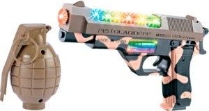 Пистолет свето-звуковой ZIPP Toys Desert Eagle в наборе с гранатой ц:камуфляж/коричневый