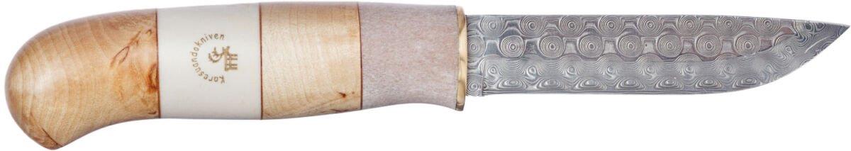 Нож Karesuandokniven Ripan Damask, дамасская сталь, рукоятка – карельская береза/олений рог, кожаные ножны с пластиковой вставкой, подарочная коробка, длина клинка – 97 мм, общая длина – 214 мм