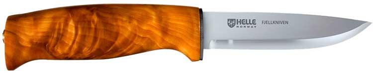 Нож Helle Fjellkniven, ламинированная нержавеющая сталь, рукоятка – карельская береза, кожаные ножны, длина клинка – 105 мм, длина общая – 205 мм.