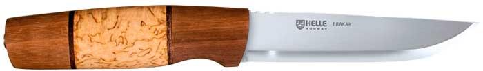 Нож Helle BraKar, ламинированная нержавеющая сталь, рукоятка – карельская береза/орех/кожа, кожаные ножны, длина клинка – 126 мм, длина общая – 255 мм.
