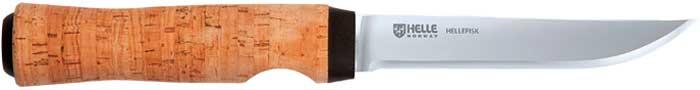 Нож Helle Hellefisk, сталь – Sandvik 12C27, рукоятка – пробковое дерево, кожаные ножны, длина клинка – 123 мм, длина общая – 253 мм