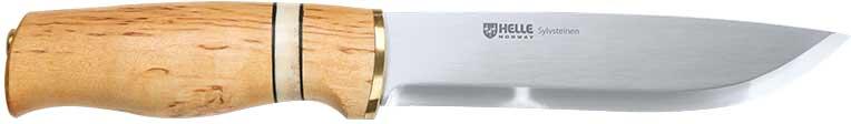 Нож Helle Sylvsteinen, ламинированная нержавеющая сталь, рукоятка – карельская береза/рог, кожаные ножны, длина клинка – 135 мм, длина общая – 245 мм.