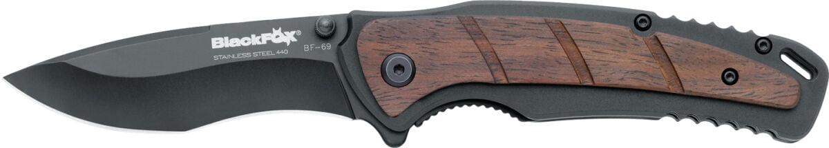 Нож Black Fox BF-69, сталь – 440А, рукоятка – алюминий/сандаловое дерево, клипса, обычная режущая кромка, длина клинка – 80 мм, длина общая – 190 мм.
