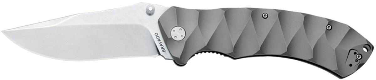 Нож Fox Bravado,  сталь – N690Co, рукоятка – титан, обычная режущая кромка, клипса, длина клинка – 105 мм, длина общая – 247 мм