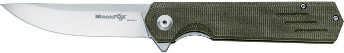 Нож Fox Revolver BF-740 OD green, сталь – D2, рукоять – OD green Canvas Micarta, обычная режущая кромка, длинна клинка – 90 мм, общая длинна – 21,5 мм