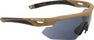 Очки баллистические Swiss Eye Nighthawk. Цвет – песочный, 3 сменные линзы (прозрачный/затемненный/оранжевый), чехол из микрофибрового материала, футляр